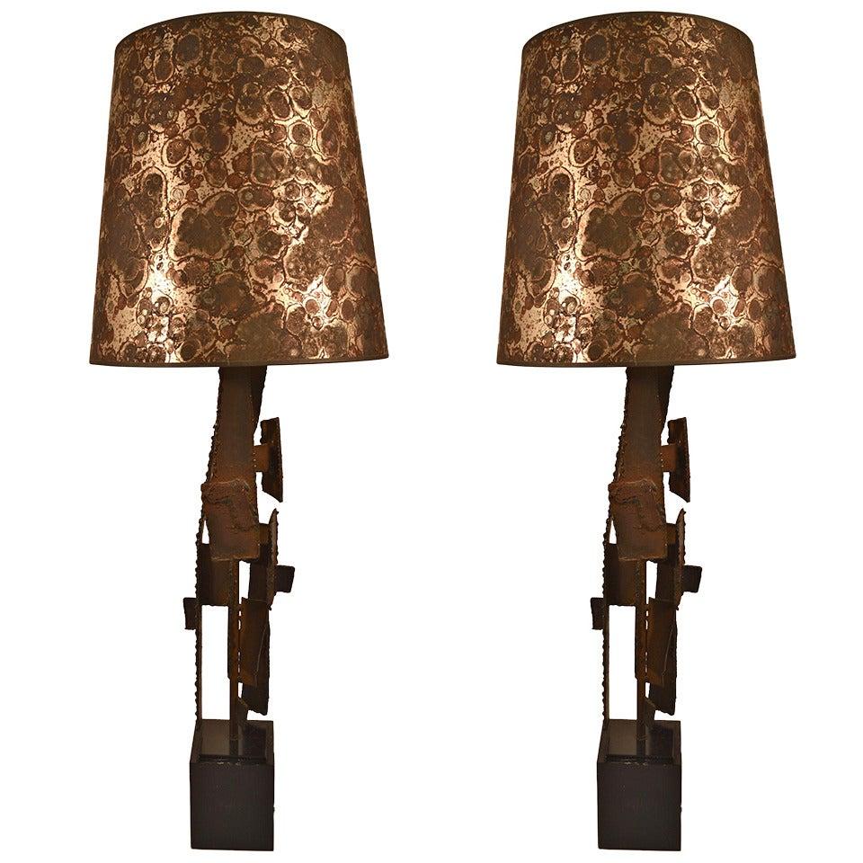 Pair of Brutalist Laurel Lamps by Harry Balmer