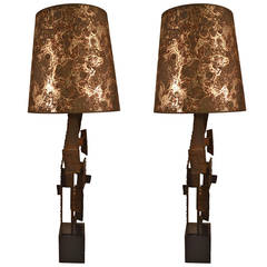 Pair of Brutalist Laurel Lamps by Harry Balmer