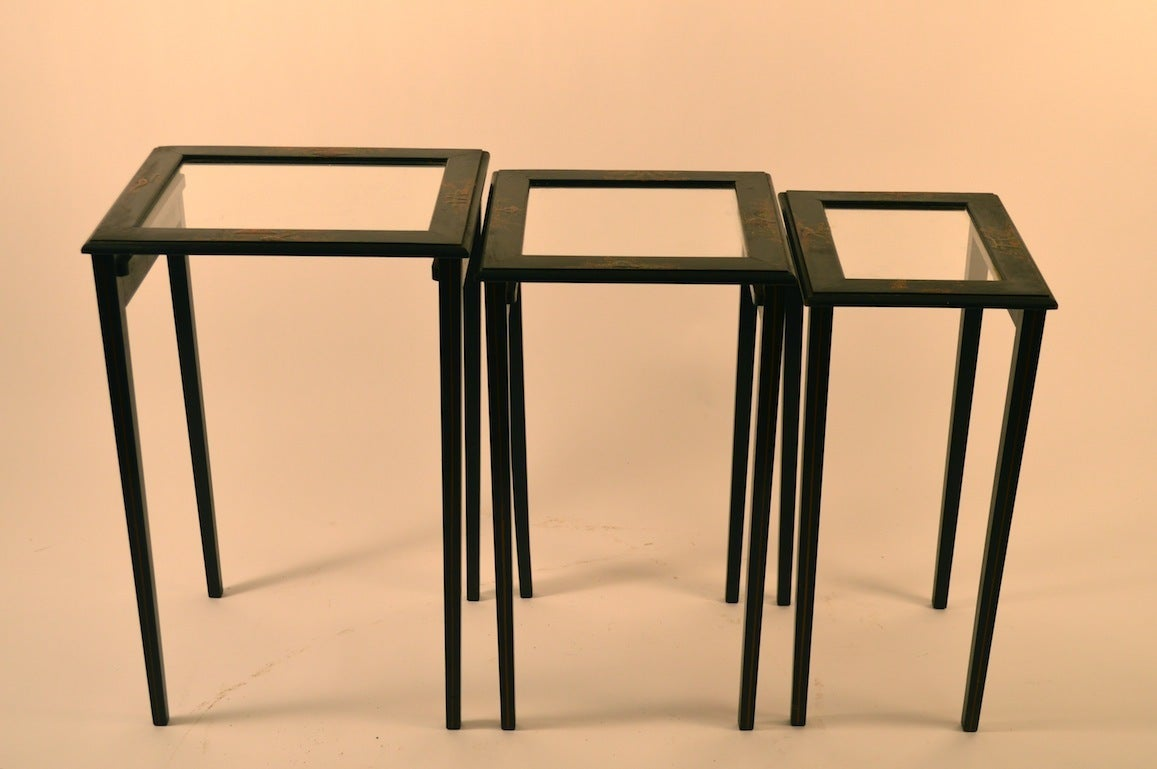 Japanese style black nesting tables by peter engel inc for Asian furniture nyc