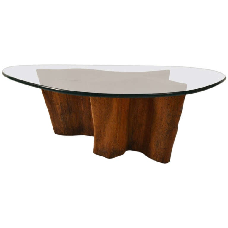 Root And Glass Coffee Table: Stylish Root Base Glass Top Table By Michael Taylor At 1stdibs