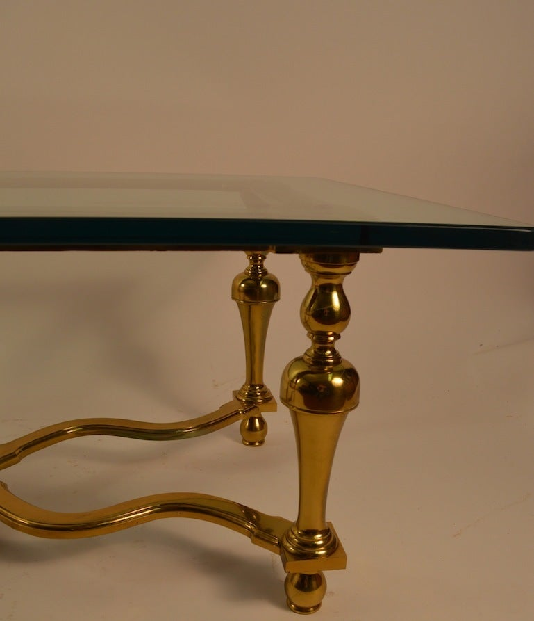 Hollywood Regency Brass and Glass Coffee or Cocktail Table For Sale