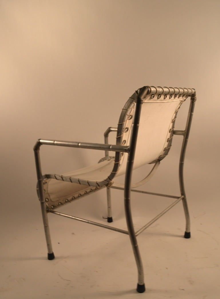 Pair Of Aluminum And Canvass Yacht Chairs For Sale At 1stdibs