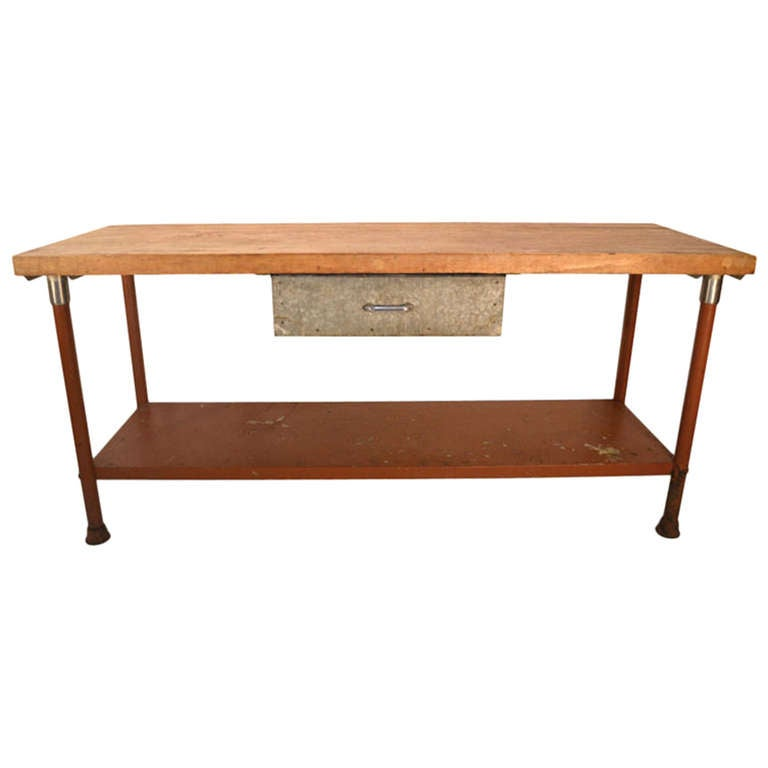 Kitchen Work Table Butcher Block : Long Industrial Kitchen Work Station Butcher Block Iron Base Table at 1stdibs