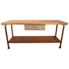 Long Industrial Kitchen Work Station Butcher Block Iron Base Table