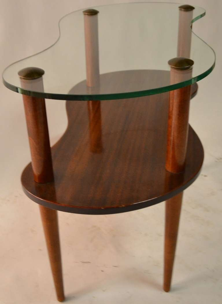 Pair Two Tier Glass Top Amoeba Form End Tables After Rohde At 1stdibs