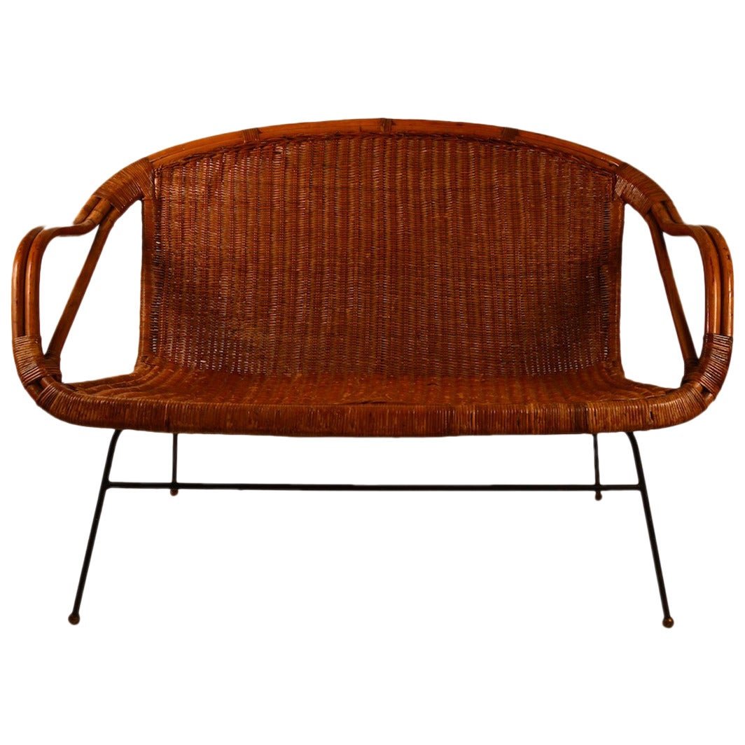 stylish bamboo and wicker settee or loveseat 1