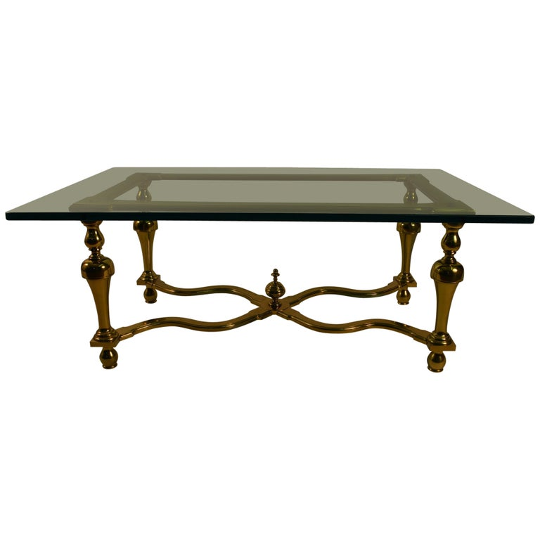 Brass and Glass Coffee or Cocktail Table For Sale