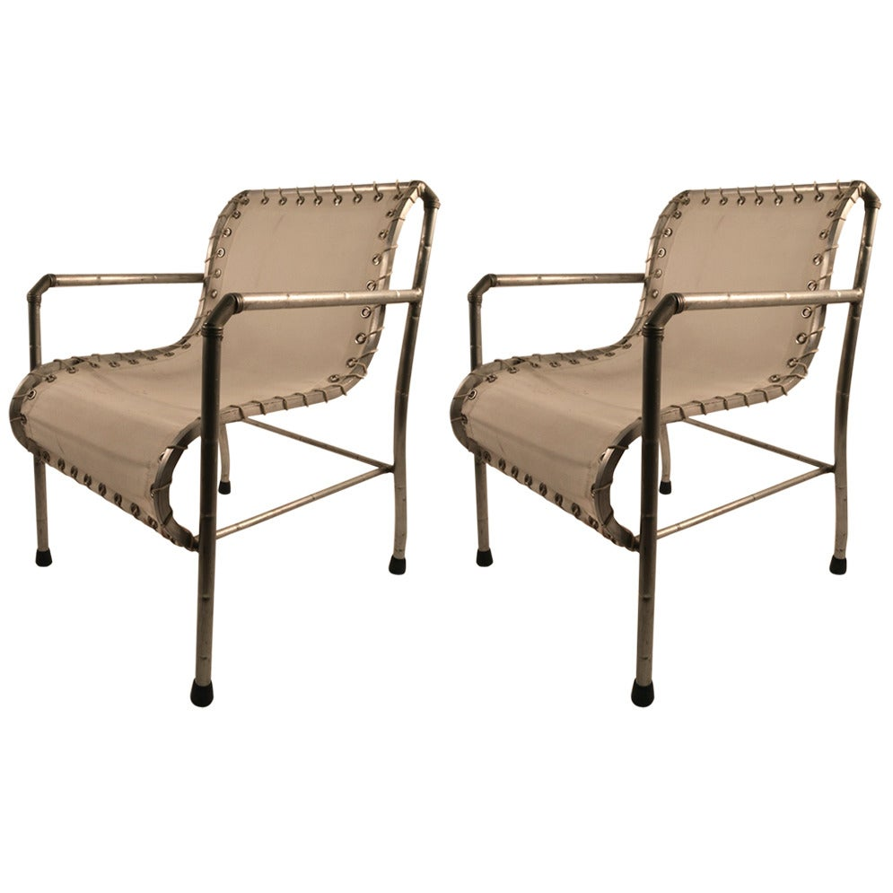 Pair of Aluminum and Canvass Yacht Chairs