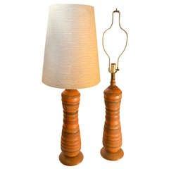 Pair Textured Ceramic Table Lamps In Fine Original Condition