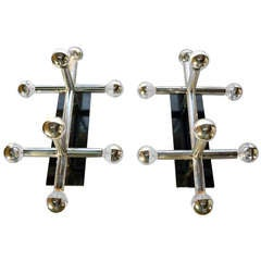 Pair Lightolier Chrome Tube Sconces