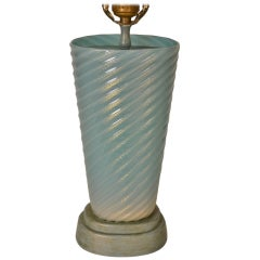 Murano Glass Lamp Blue Swirl with Gold Inclusion