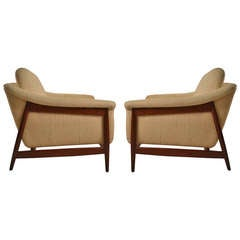 Pair of Norwegian DUX Danish Modern Teak Frame Club Chairs