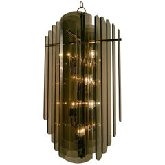 Smoked Glass and Brass Chandelier by Lightolier