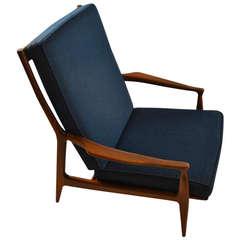 Early Milo Baughman for Thayer Coggin Walnut frame arm chair