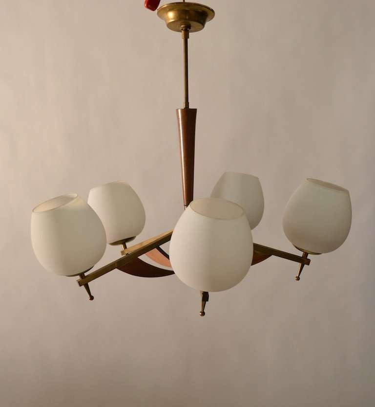 Classic five light mid century modern uplight chandelier for Mid century modern pendant light fixtures