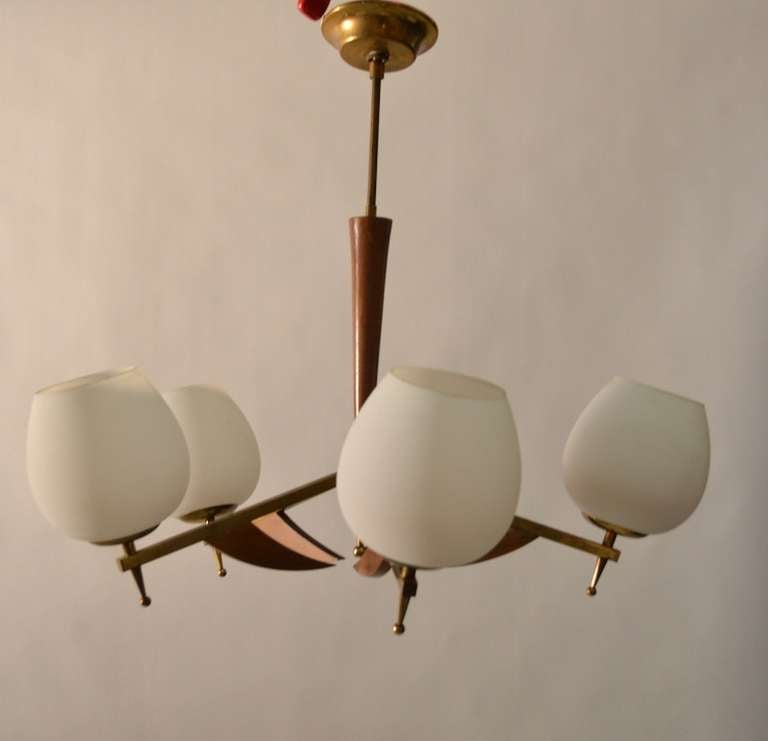 Classic five light mid century modern uplight chandelier for American classic lighting