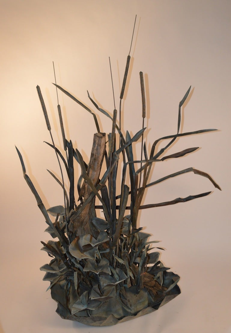 Large Verdigris Copper Cattails and Driftwood Fountain For Sale 4