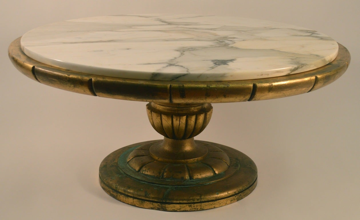 Marble top gilt base coffee table at 1stdibs Coffee tables with marble tops