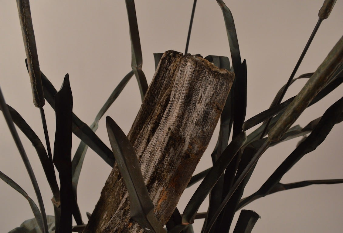 Large Verdigris Copper Cattails and Driftwood Fountain In Good Condition For Sale In New York, NY