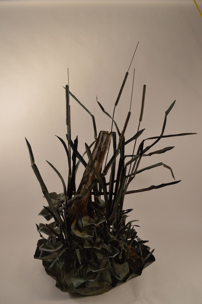 Large Verdigris Copper Cattails and Driftwood Fountain 2