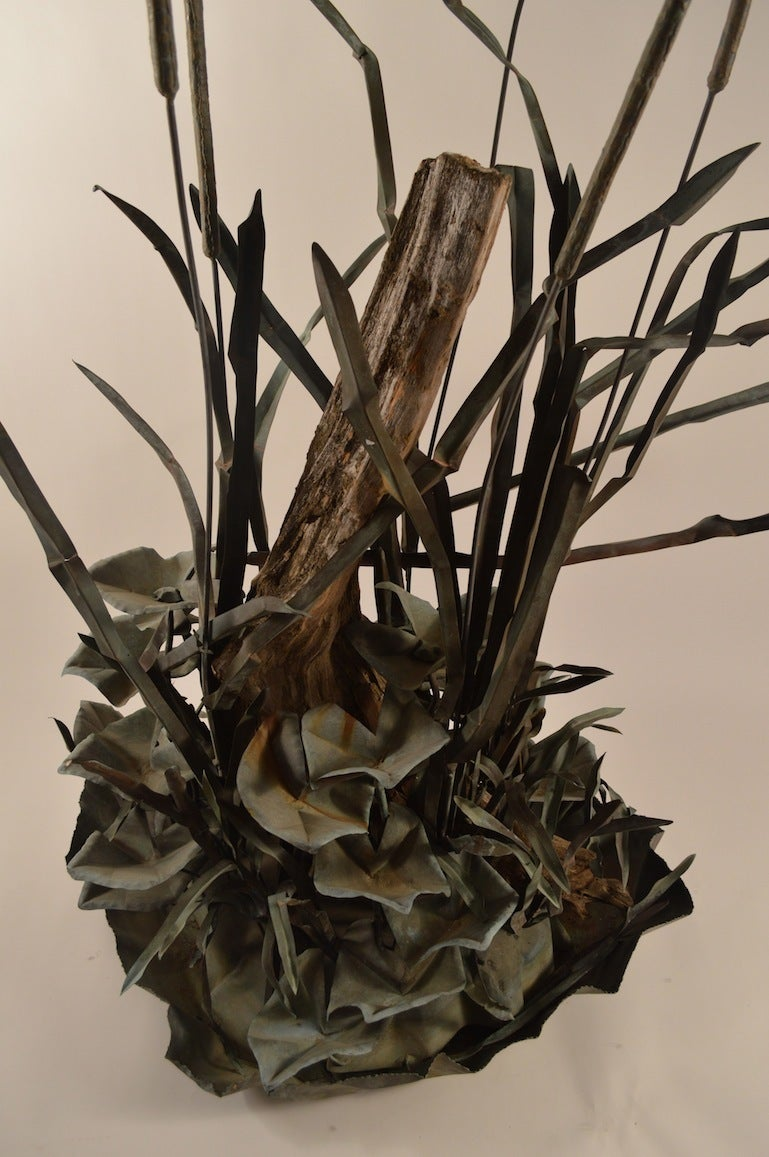 American Large Verdigris Copper Cattails and Driftwood Fountain For Sale