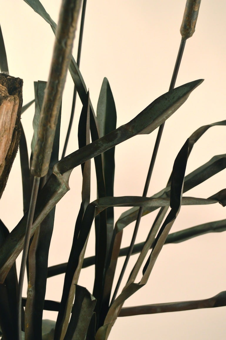 Large Verdigris Copper Cattails and Driftwood Fountain For Sale 3