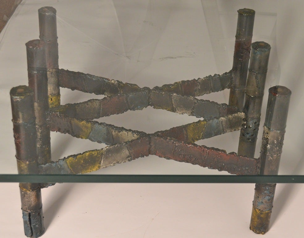 Iron Paul Evans Brutalist Coffee Table For Sale