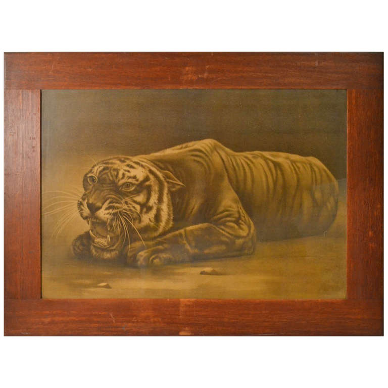 Overscaled Arts and Crafts Mission Oak Framed Tiger Print