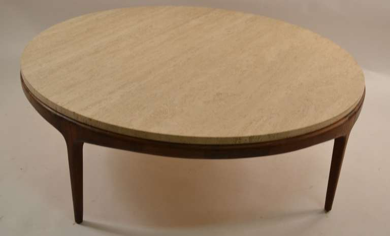 Round Travertine Marble Top Table At 1stdibs