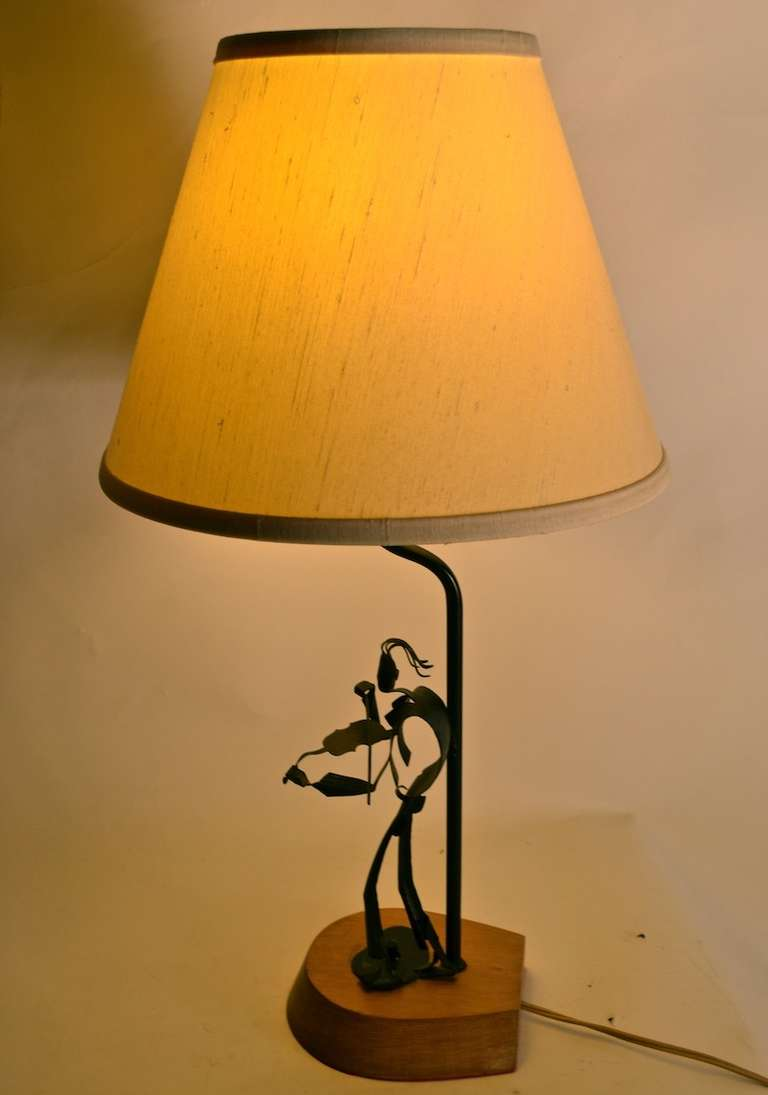 Pair of handmade metal musician table lamps at 1stdibs - Hand made lamps ...