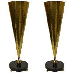 Pair of Hammered Brass and Marble Table Torchieres