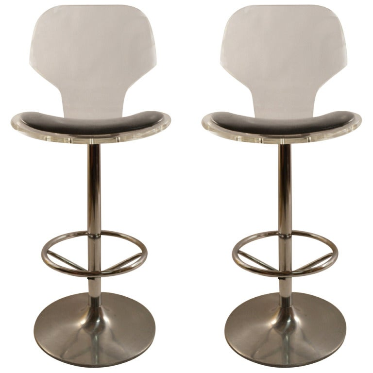 Pair Lucite Swivel Bar Counter Stools At 1stdibs
