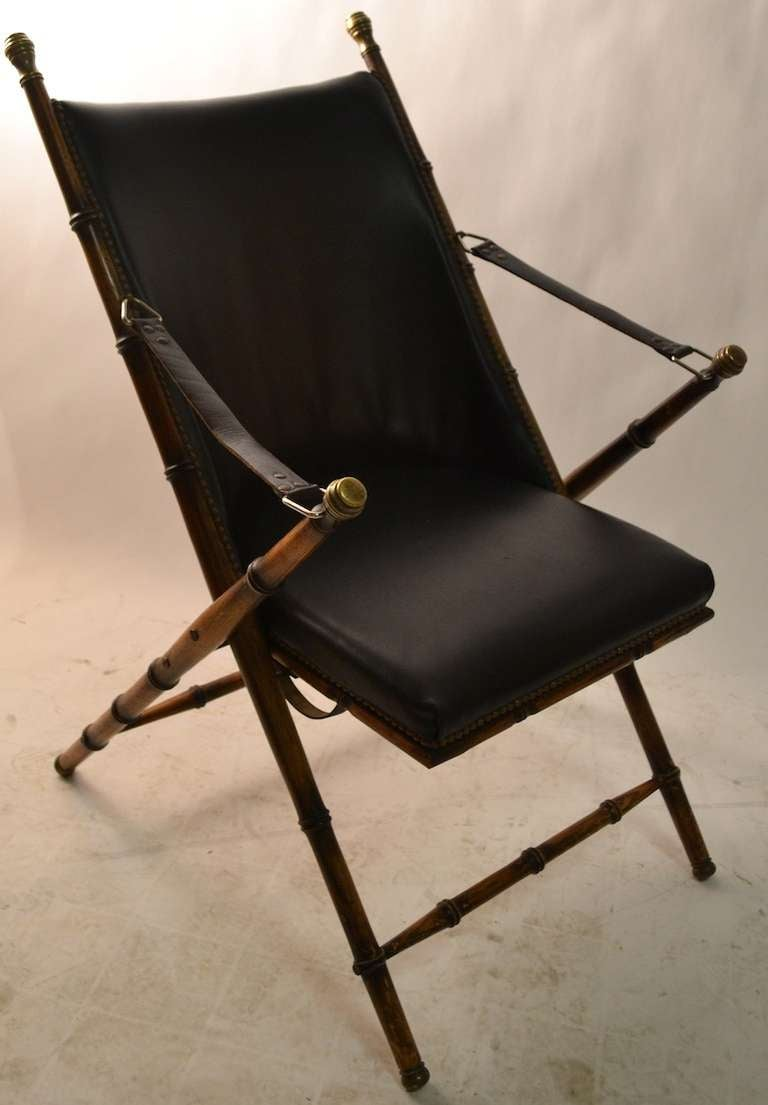 Pair Folding  Campaign Chairs Made in Italy In Good Condition For Sale In New York, NY