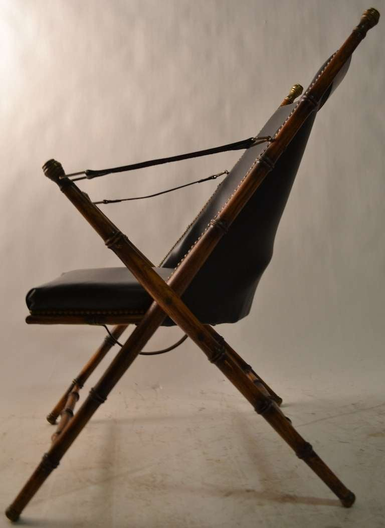Pair Folding  Campaign Chairs Made in Italy For Sale 2
