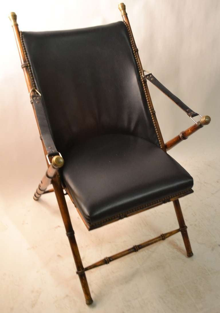 Beau Italian Pair Folding Campaign Chairs Made In Italy For Sale