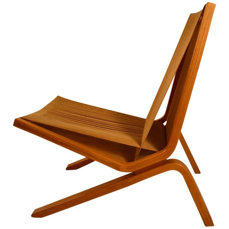 Bentwood and String Low Lounge Chair at 1stdibs