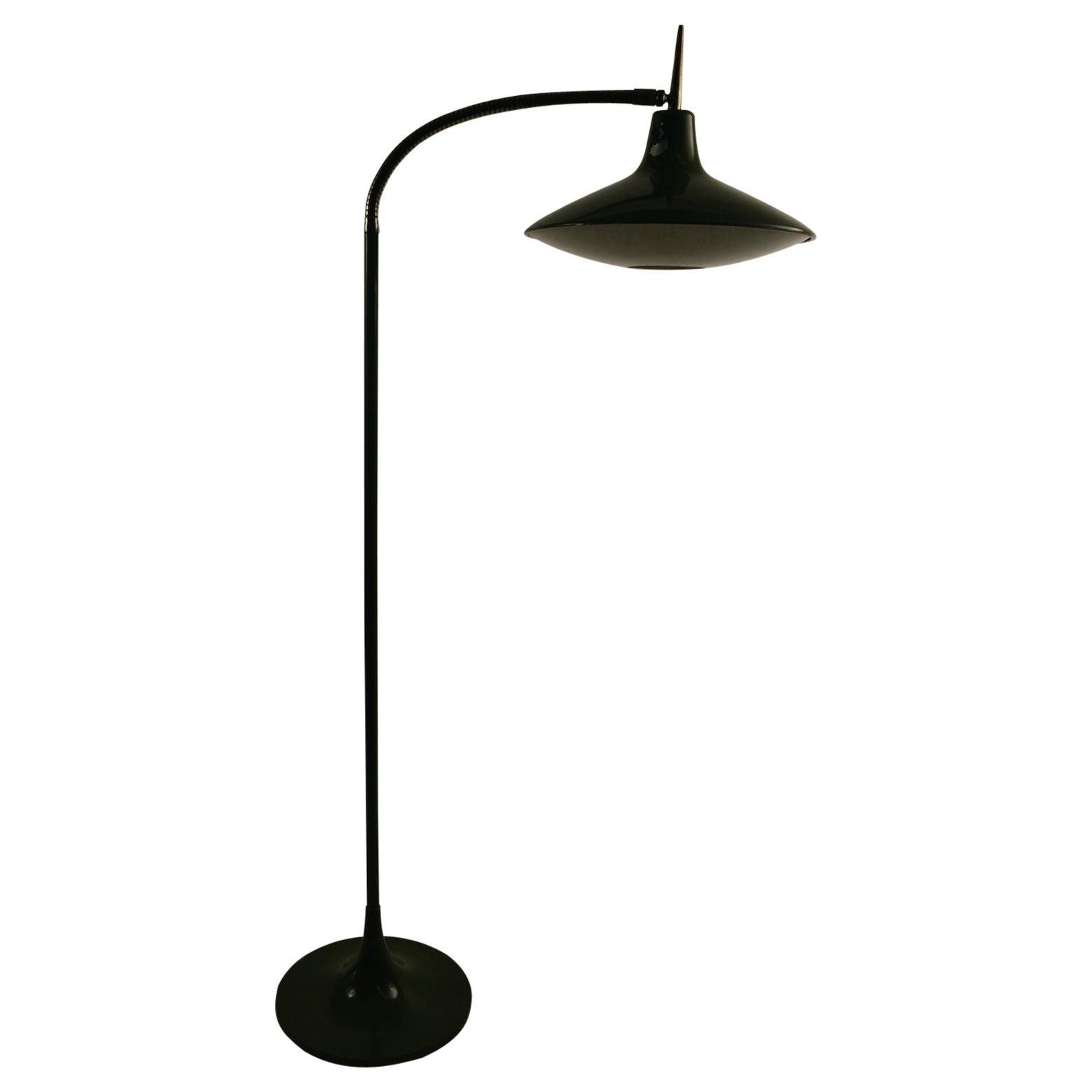 Laurel Gooseneck Floor Lamp Model B- 683 in the style of Ponti
