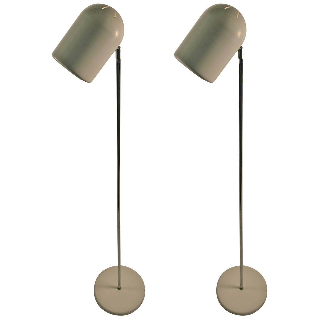 Pair of Mod White and Chrome Floor Lamps