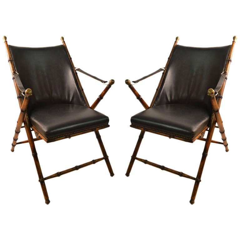 Pair Folding  Campaign Chairs Made in Italy For Sale