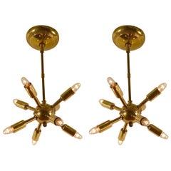 Pair of Brass Sputnik Chandeliers