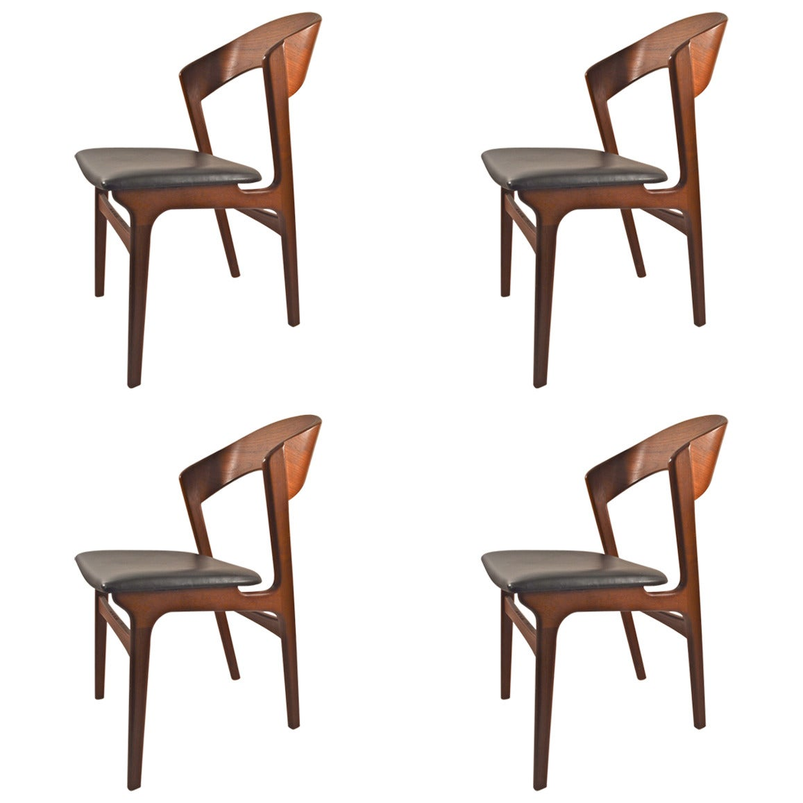 set of four danish modern teak dining chairs by randers. Black Bedroom Furniture Sets. Home Design Ideas