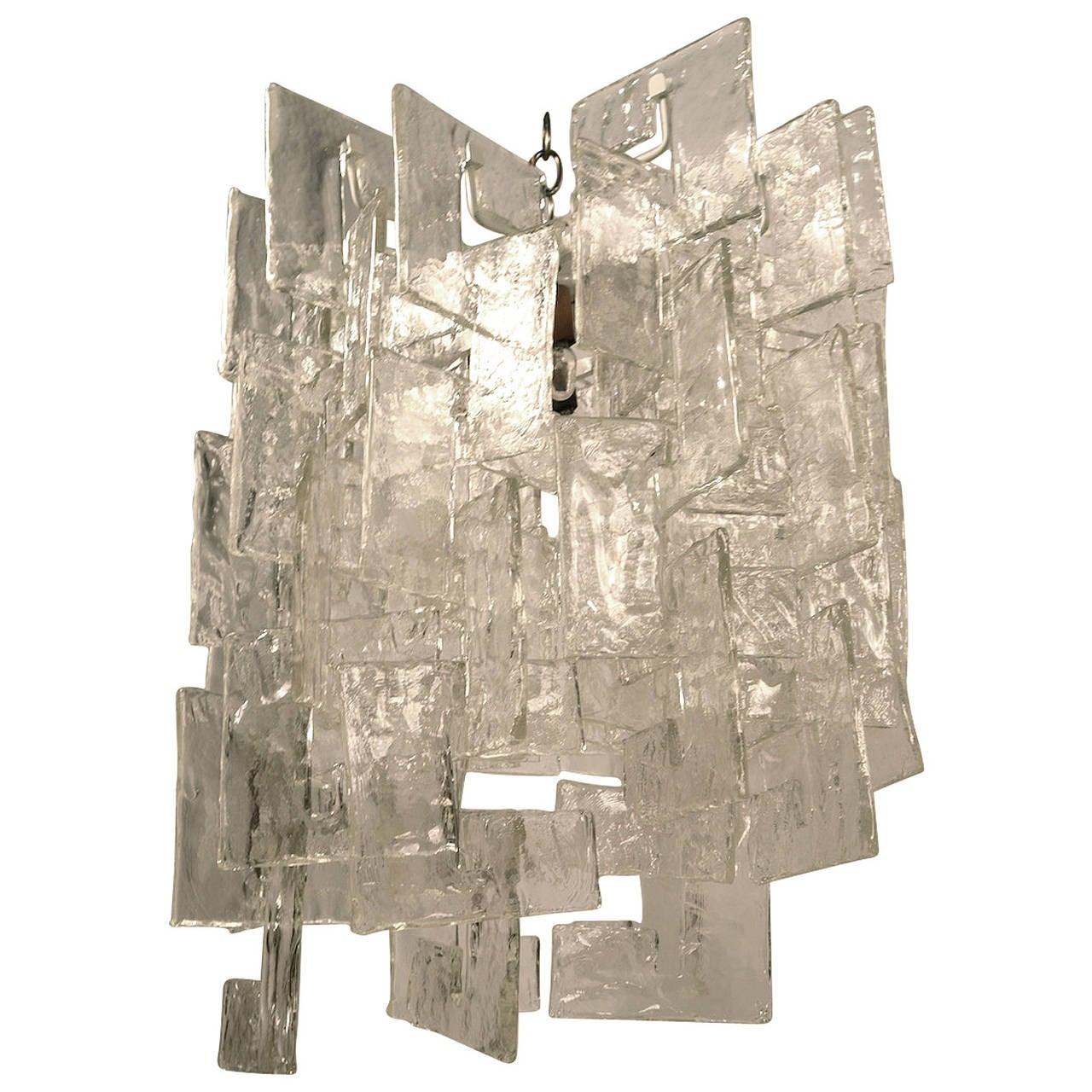 Mazzega Murano interlocking glass chandelier, 1970s, offered by Barbarella Home
