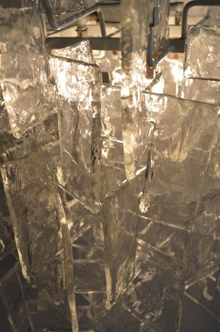 Art Glass Mazzega Interlocking Murano Glass Chandelier For Sale