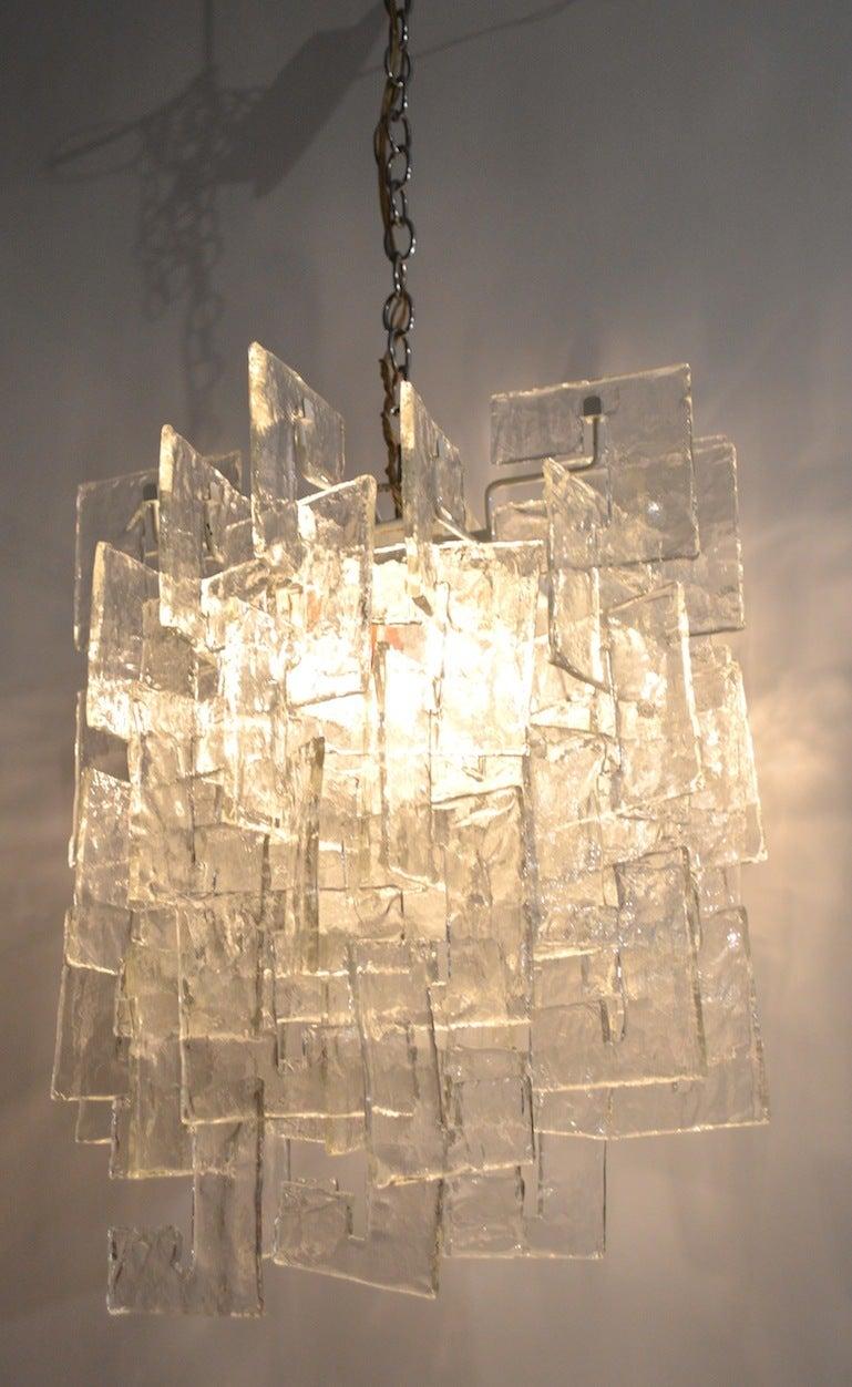 Italian Mazzega Interlocking Murano Glass Chandelier For Sale