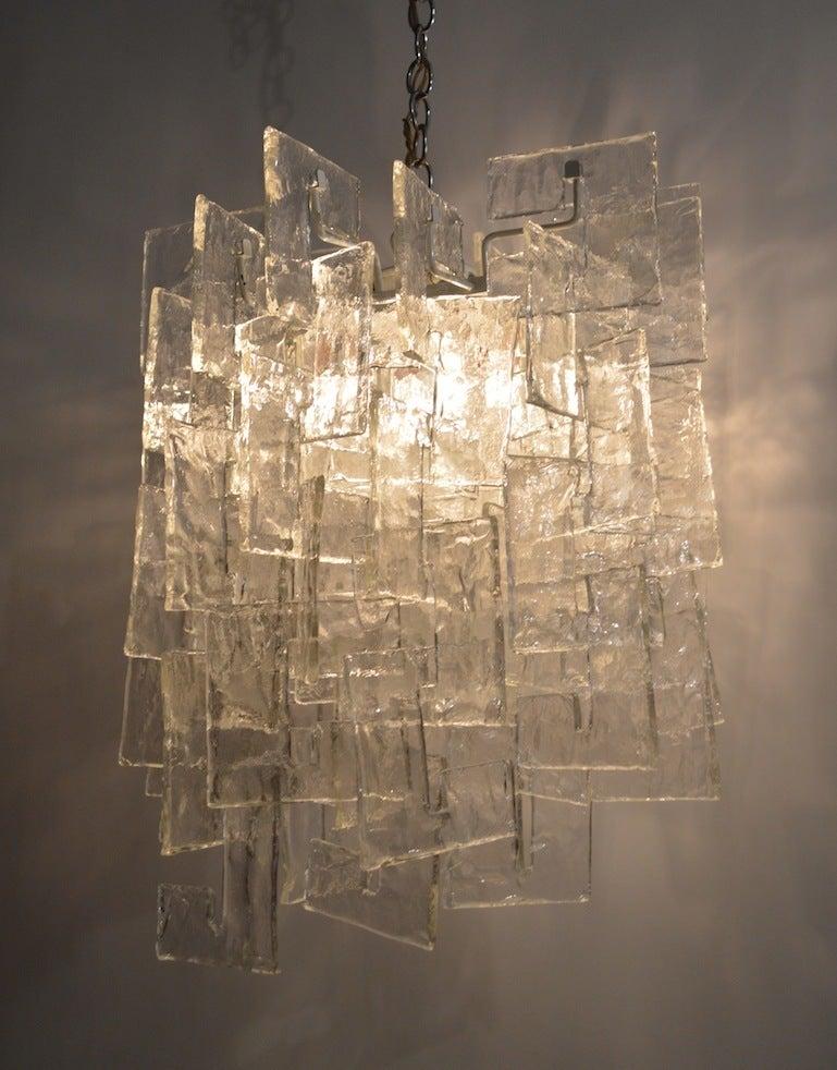 Mid-Century Modern Mazzega Interlocking Murano Glass Chandelier For Sale