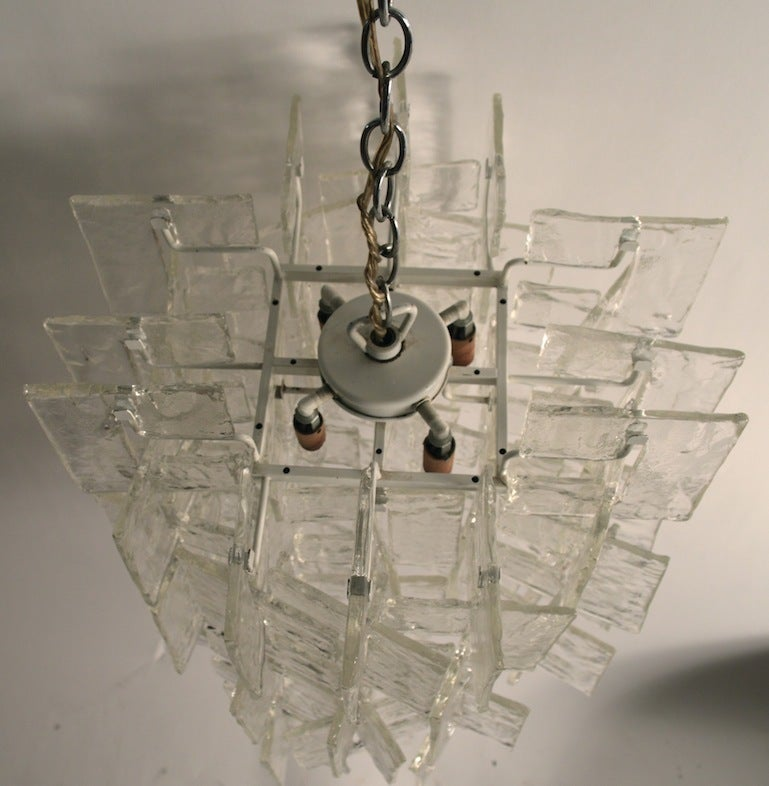 Stylish chic chandelier by Mazzega. This example has