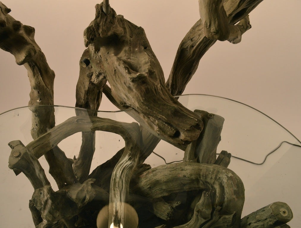 Large Driftwood Lamp Table or Floor Lamp In Fair Condition For Sale In New York, NY