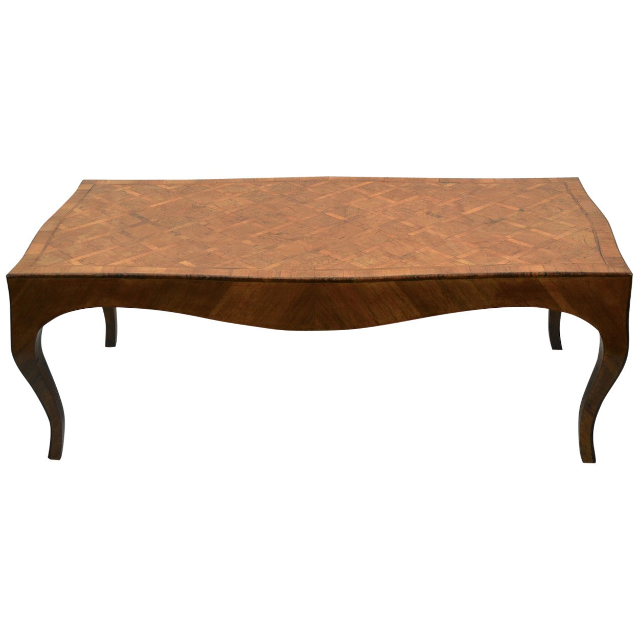 Italian Olive Wood Parquetry Inlay Coffee or Cocktail Table