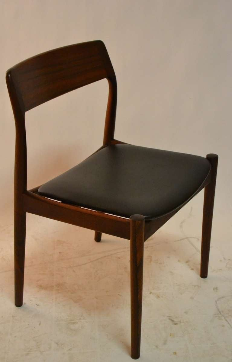 Set of four rosewood danish modern dining chairs for sale for Designer dining chairs sale