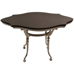 Classical Style Cast Aluminum Table with Stone Top
